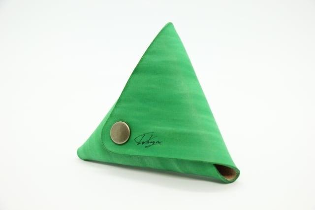 美しい三角コインケース(ツリーグリーン)