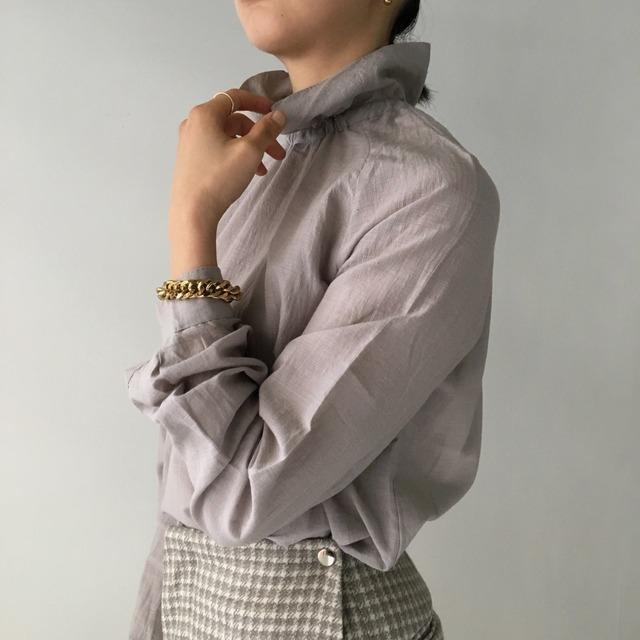 "High neck gather blouse ""gray purple"""
