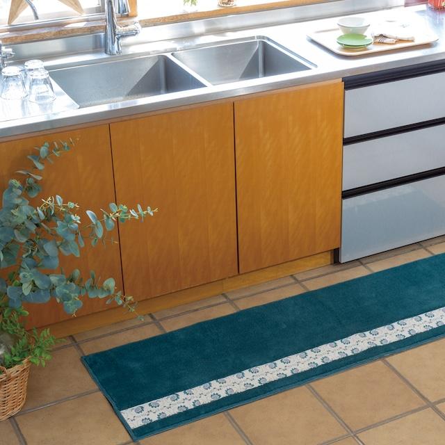 フィンランドの「幸せを運ぶ鳥」小鳥柄のキッチンマット120センチ ブルー