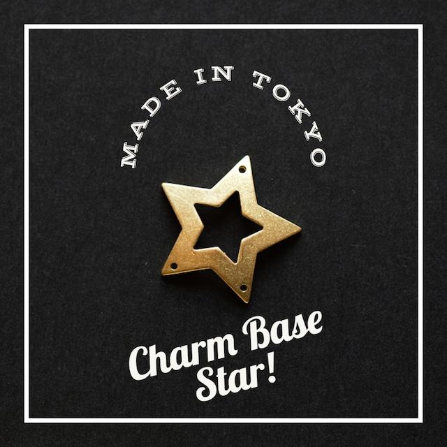 【1個】チャーム・ベース 星B(3つ穴)(日本製、真鍮、無垢)