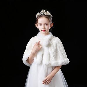 1517キッズ ボレロ  子供 ドレス 子ども フォーマル カーディガン 女の子ポンチョ キッズ ボレロ マント ファー 白色90cm-150cm