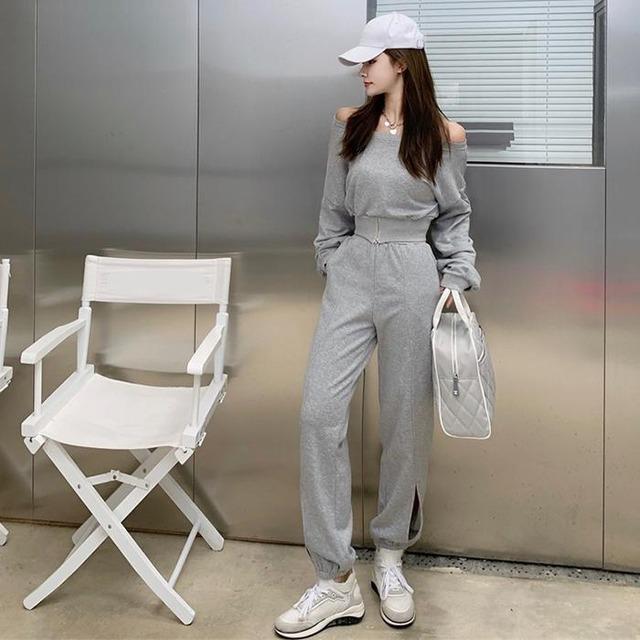 【セットアップ】人気を独占中♡ ファッション ハイウエスト スリット 無地 ボートネック セットアップ51479922