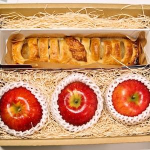 【スイーツセット】明月堂のなが~いアップルパイ シナノスイート3玉