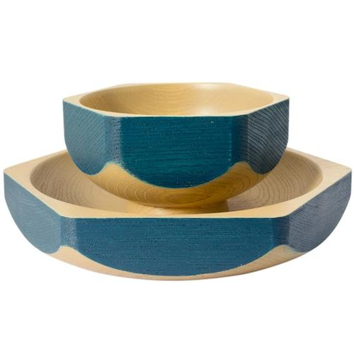 Wa Rocuru 6角形の漆の器セット 紺