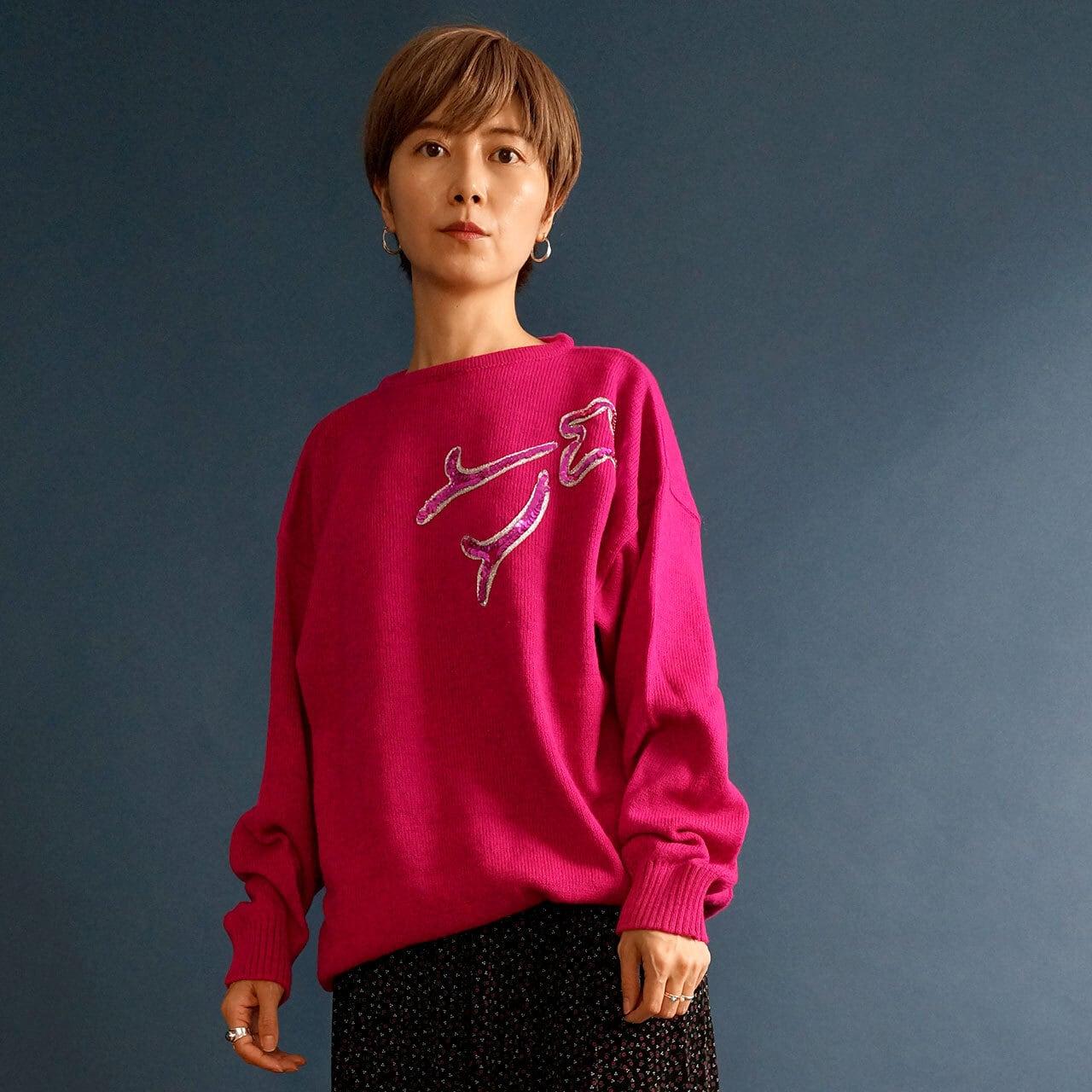 【送料無料】80's Vintage Magenta Pink Wool Jumper