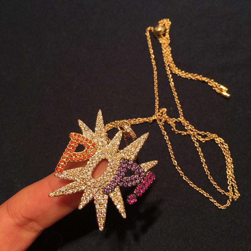 GODKI 高級手紙ポピパンクスタッカブルペンダントネックレス美しいフルキュービックジルコン