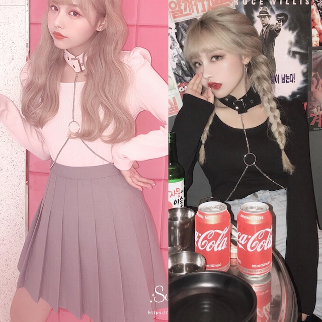 [2color]Heart chain tops