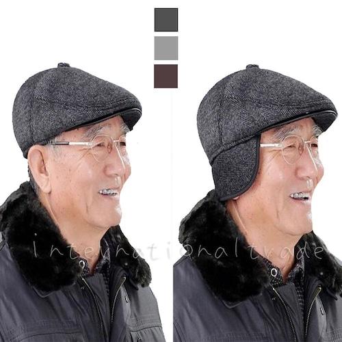 メンズ帽子 耳あて付き ハンチング キャップ ハンチング帽 男性 紳士 キャスケット メンズファッション メンズハンチング 紫外線対策 ツイード 寒さ対策 あったか 耳当て 防寒 秋 冬 おじいちゃん 敬老の日 父の日 ブラック 黒 グレー ベージュ おしゃれ オシャレ cw-a-4972