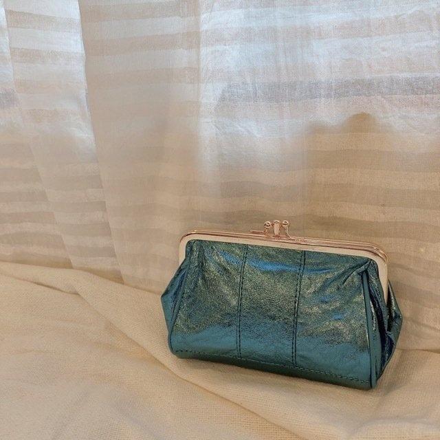 TOPANGA Bag カルテットがま口メタリックレザーウォレット ブルー