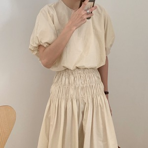 puff sleeve blouse & Aline skirt set up(beige)