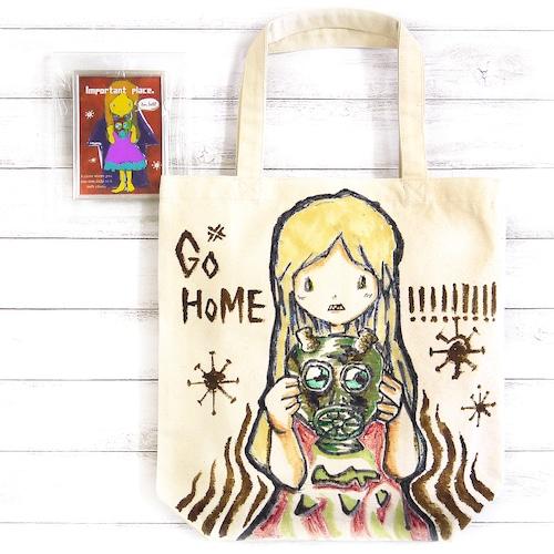 【M.O】GO HOME!!!(Mサイズ)/手描きトート&イラストセット