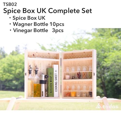 Cridas(クリダス) Spice Box UK Complete Set  コンプリートセット(スパイスボックス&ワグナー瓶 10本&ビネガー瓶3本) TSB02 Wagner Vinegar Bottle ヒノキ 国産木材 アウトドア 用品 キャンプ グッズ バーベキュー BBQ