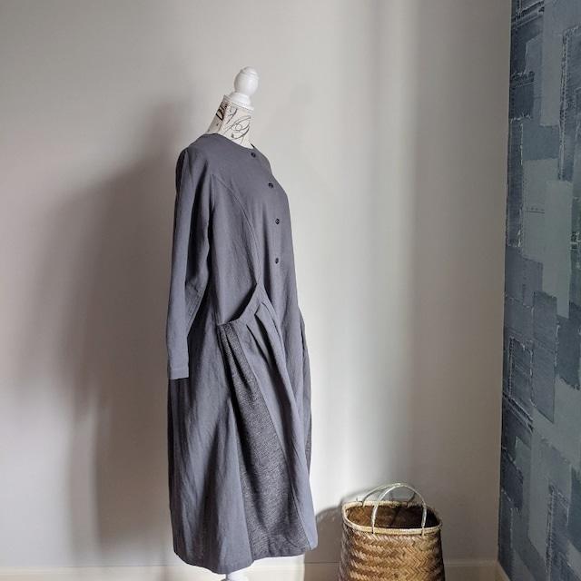 ◆**Sさま専用**◆チェンマイ サイドにジョムトン手織り布を使ったタイコットンのワンピース グレー