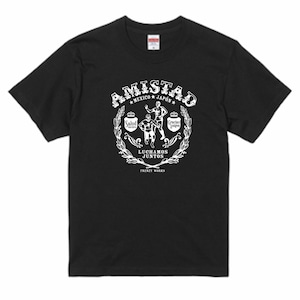 AMISTAD BLACK ホワイトプリント メキシコと日本の友情T ルチャリブレ 黒Tシャツ