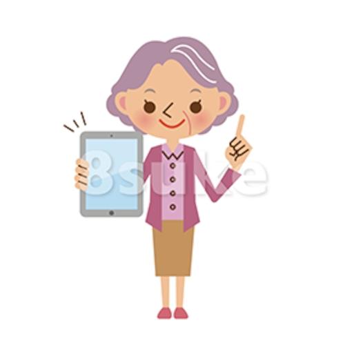 イラスト素材:タブレット端末を持つシニア女性(ベクター・JPG)