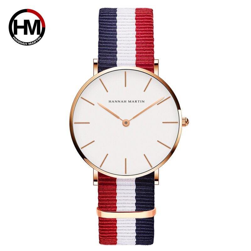 クラシックローズレッドダークブルーナイロンストラップジャパンクォーツムーブメントファッションカジュアル腕時計生地薄いキャンバス腕時計女性用CB36-F4