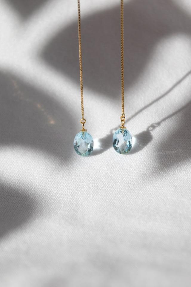 K18 Sky Blue Topaz Chain Earrings 18金スカイブルートパーズチェーンピアス/イヤリング