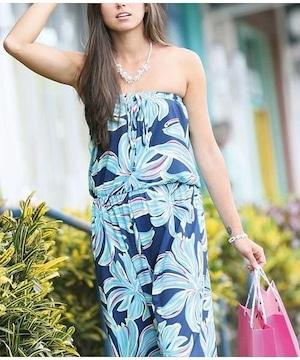 【Mauna loa/マウナロア/MMJ】ハワイアンベアトップサロペット ロコネイビー フラの発表会 リゾートウェアで人気