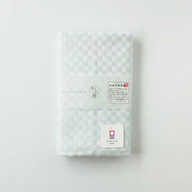わた音カラー しゅす織り フェイスタオル/白青 1-61157-31-B