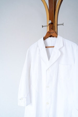 """【1940s】""""FOR"""" White Cotton French Work Coat / v673y"""