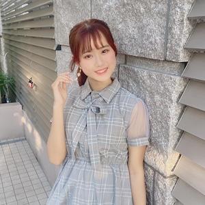 【溝口咲良さん着用】ドレス調ステッチメッシュワンピース