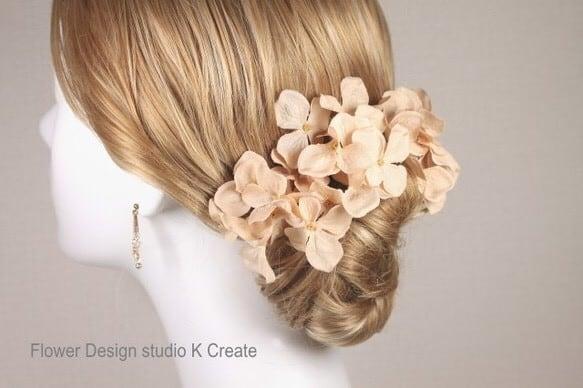チュラルベージュな紫陽花のUピン(L:3本セット) ウェディング ベージュ アジサイ 紫陽花 髪飾り ヘッドドレス 浴衣 和装 着物