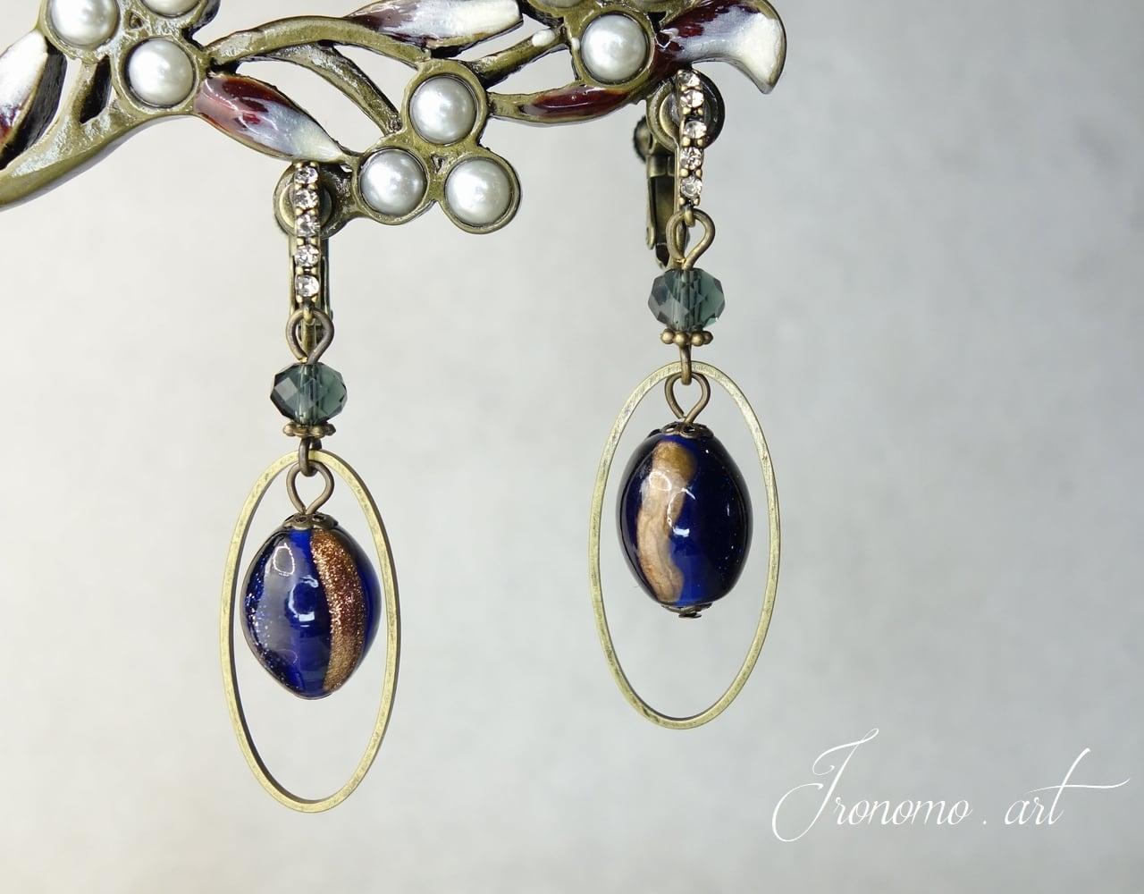 アンティークイヤリング~濃藍の珠~【ブルー】