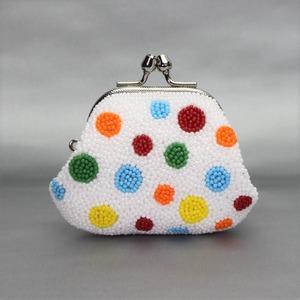 がまぐち財布 111 水玉 ビーズ刺繍