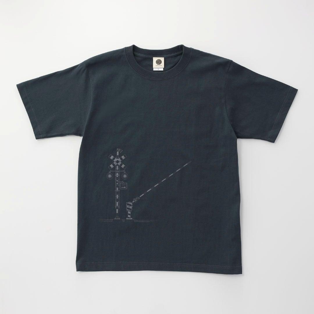 鉄道Tシャツ 踏切 ( Slate Blue × Dark Gray)