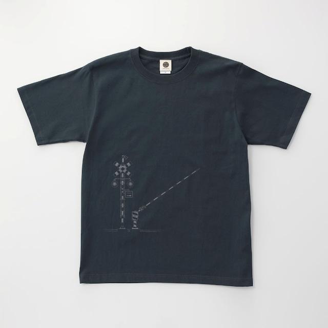 鉄道Tシャツ|踏切 ( Slate Blue × Dark Gray)