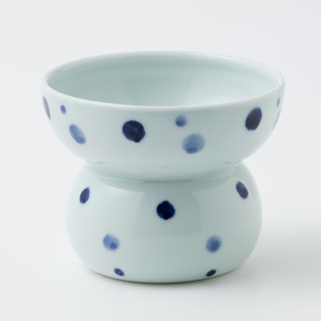 有田焼【まどか】 ハイタイプ(フード用) 青い水玉  製造:江口製陶所