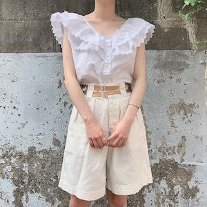 vintage overlap collar blouse