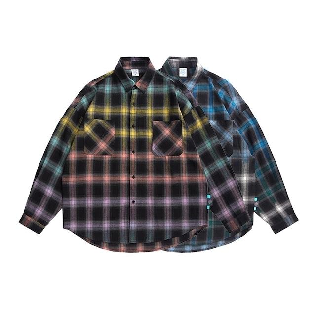 【UNISEX】コントラスト カラー チェック フランネルシャツ【2colors】