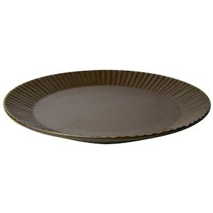 益子焼 つかもと窯 「 SHINOGI 」 プレート 皿 L 約22cm ブラウン TS-01