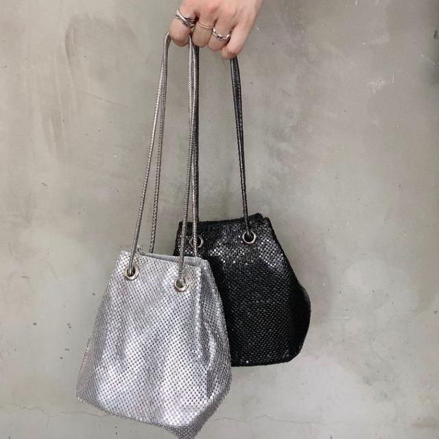 ◆即納◆グリッター シルバーチェーン コンパクト ポーチ きらきら ミニ巾着 バッグ  2S-119