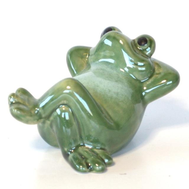 陶器 仰向け蛙 かえる カエル 福 幸運 幸福 縁起物 ご利益 オブジェ 置物 かわいい JS16248