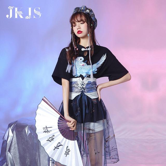【JKJSシリーズ】★チャイナ風トップス★ Tシャツ 2color 黒orピンク 鶴 中華服 コットン オリジナル
