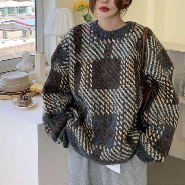 Check pattern knit KRE1089