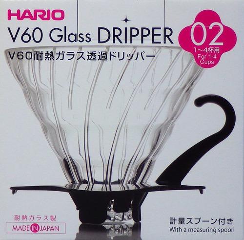ハリオV60 耐熱ガラスドリッパー02ブラック VDG-02B 1~4杯用