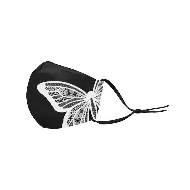 芍薬牡丹百合 Mサイズ 和柄ファッションマスク フィルターポケット付