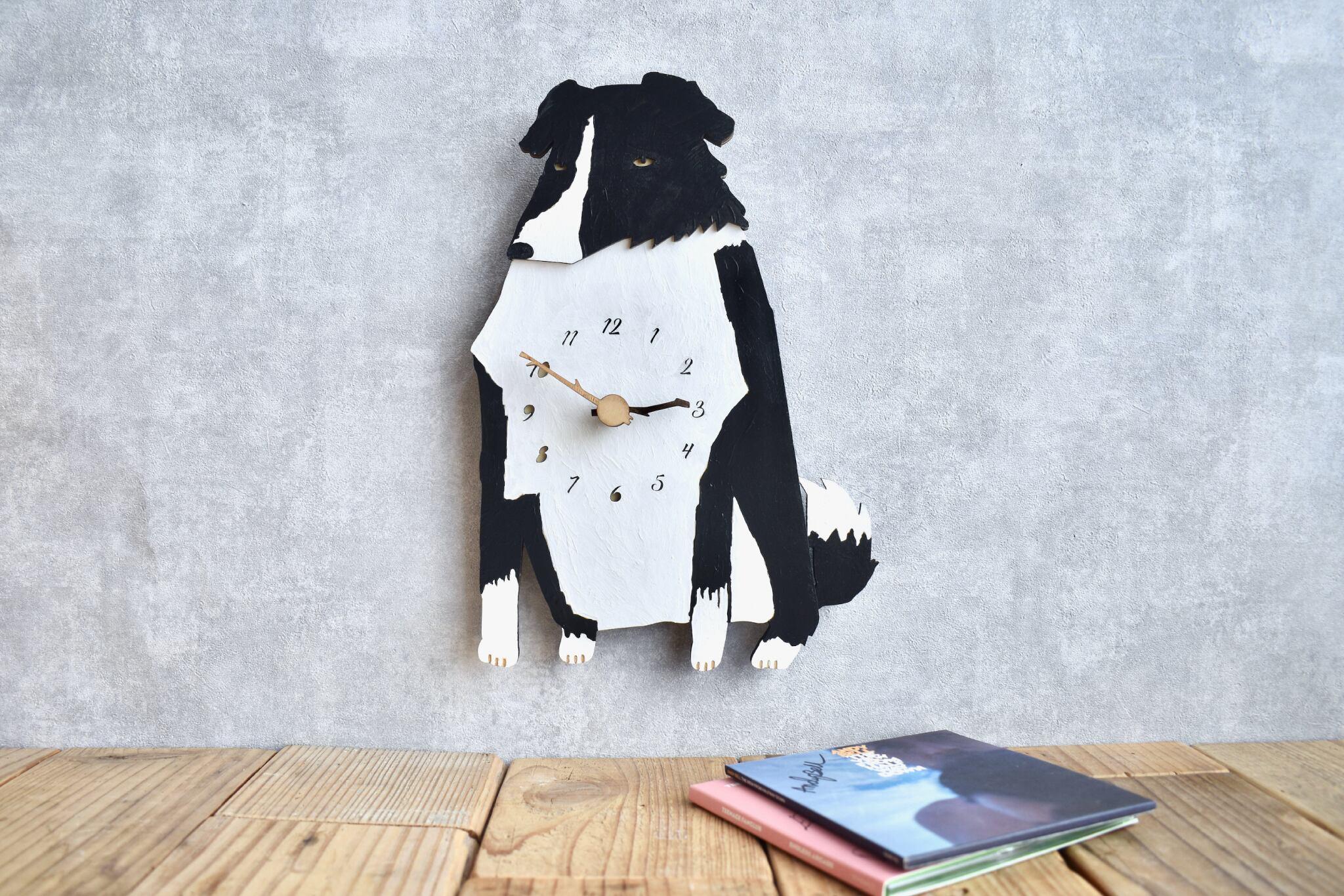 ボーダーコリーの時計 木製 掛け時計