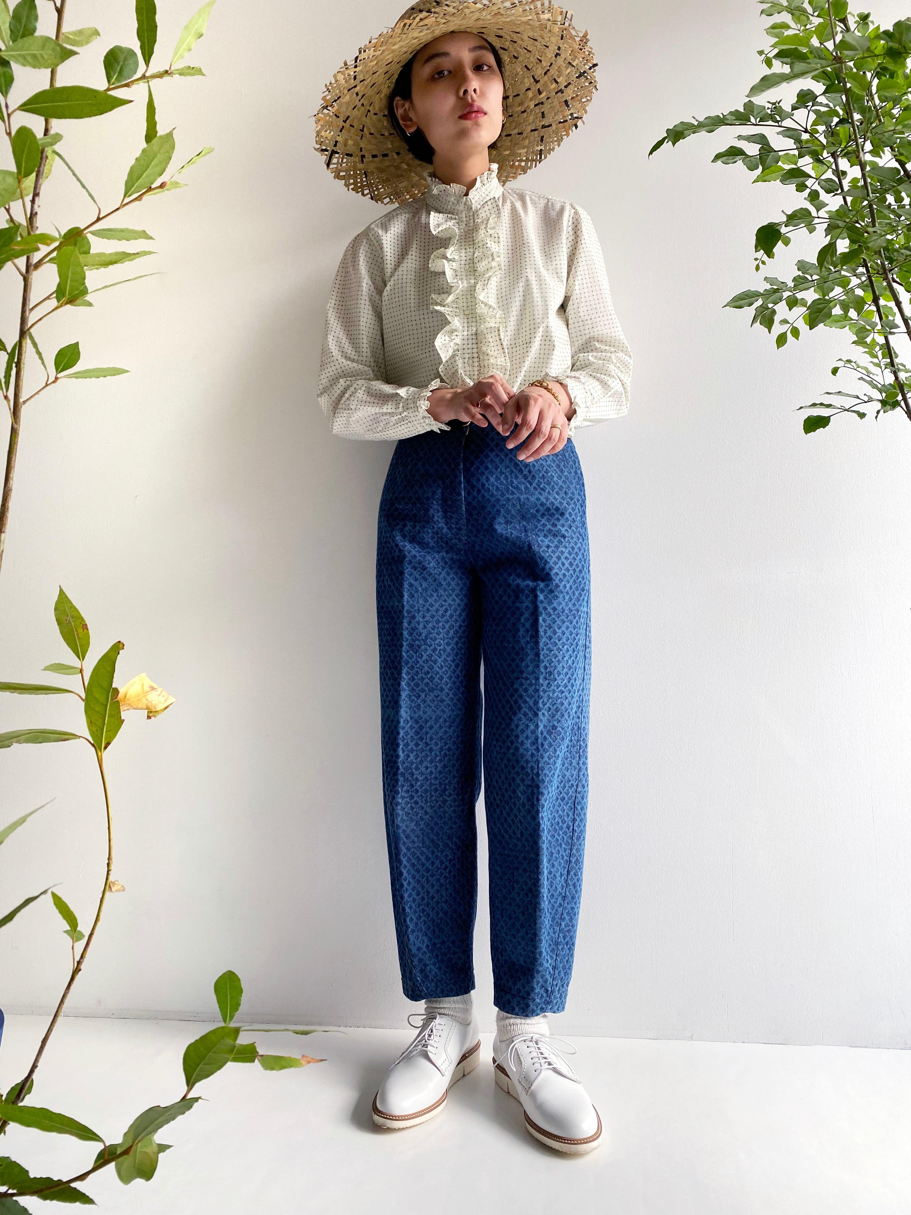 "Frill blouse ""block print geometric"" organic cotton"