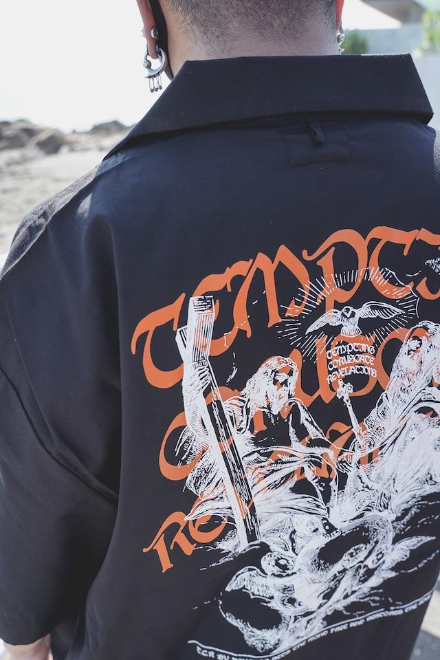 T.C.R GOD CREW BUFFALO OPEN COLLAR S/S SHIRTS  - exclusive -  BLACK