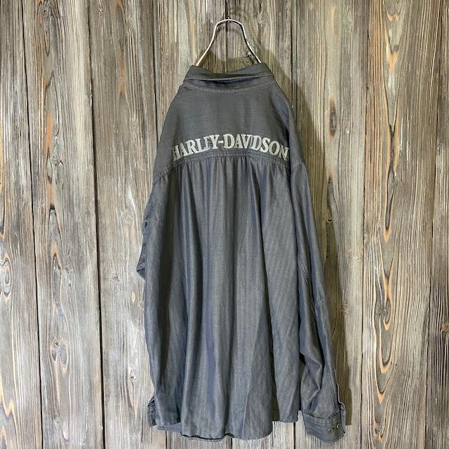 [HARLEY DAVIDSON]brand logo design darkgray shirt