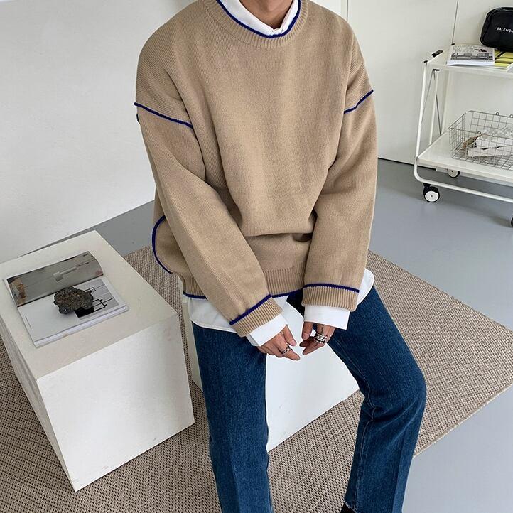 Edge line loose sweater   a-295