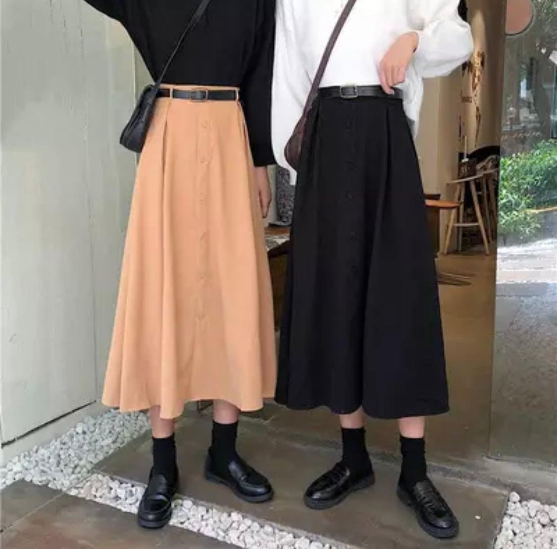 フロントボタンデザインスカート(ベージュ・ブラック)|ミドル丈 ロング Aライン
