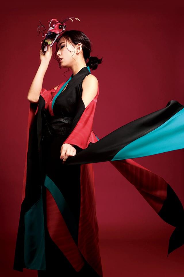 鳳凰ドレス(phoenix dress)Red × turquoise blue × black