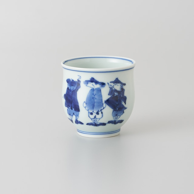 """【青花】""""三人異人"""" 反湯呑[小]"""
