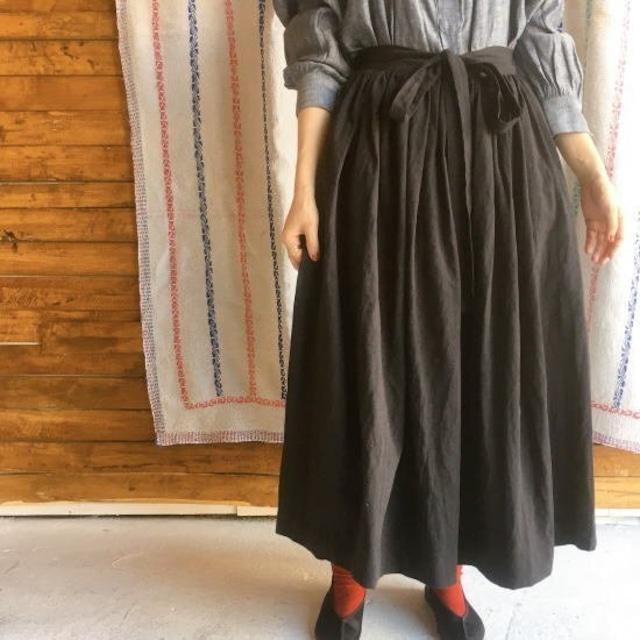 ICHI(イチ) リネンコットンラップスカート ブラック