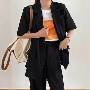 半袖ジャケット+ドレープパンツ